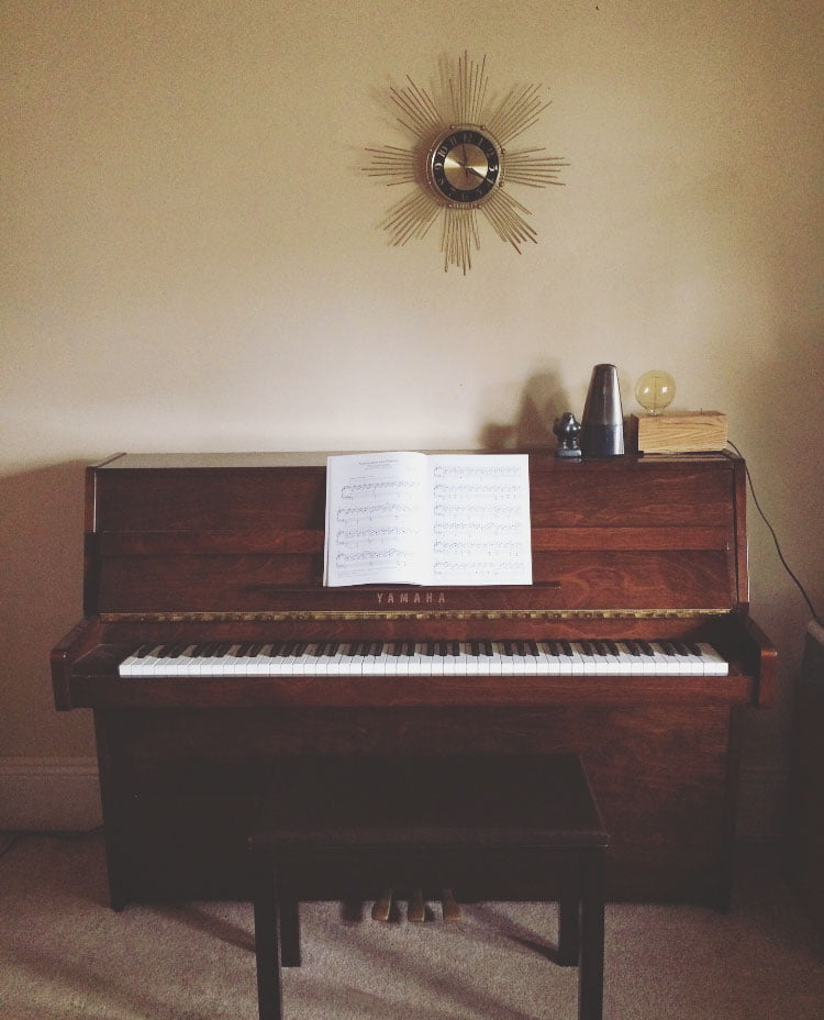 Yamaha upright piano used by Burger Chords piano teacher in Northcote