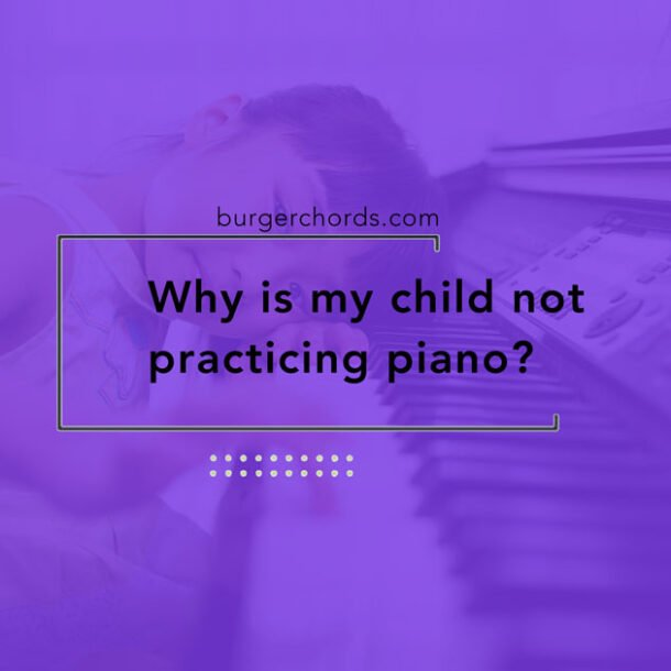 young girl head down not practicing piano