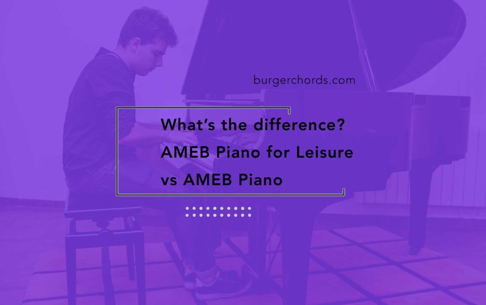 Teenage boy performing on grand piano for AMEB piano exam